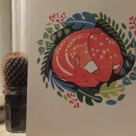 illustratie van een hert door illustrator Mila-made