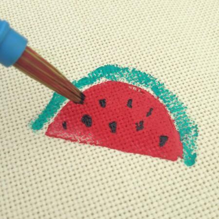 watermeloen op stof verven