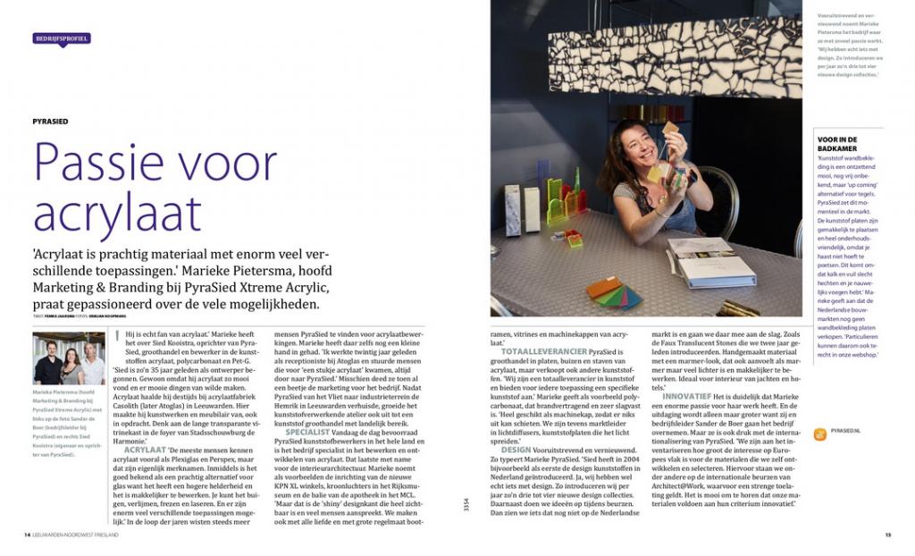 artikel over PyraSied in Dichterbij magazine