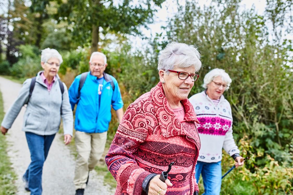 groepje ouderen aan het wandelen